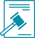Gavel and document icon